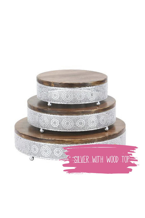 Silver Metal & Wood Cake Stand