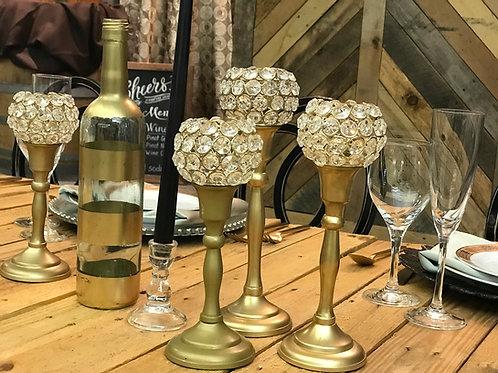 Matte Gold Candlestick Holders