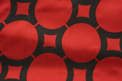Element Circle Red and Black Geometric Pattern Linen