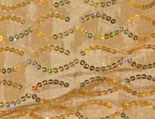 Sequins Taffeta Gold Linen
