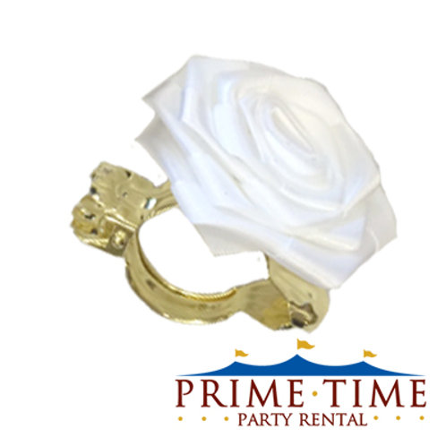White Rose Flower Clip