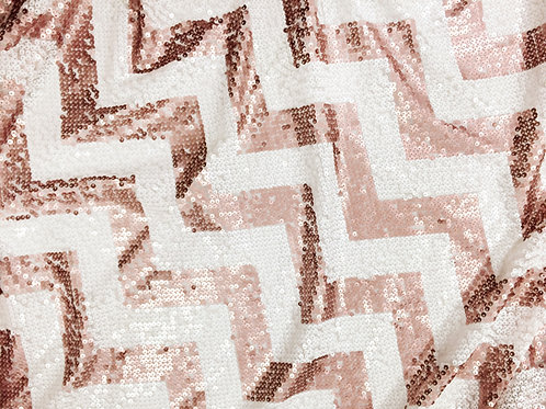 Chevron Sequins Rose Gold Linen