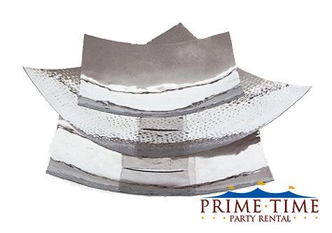 Square Silver Hammered Platter