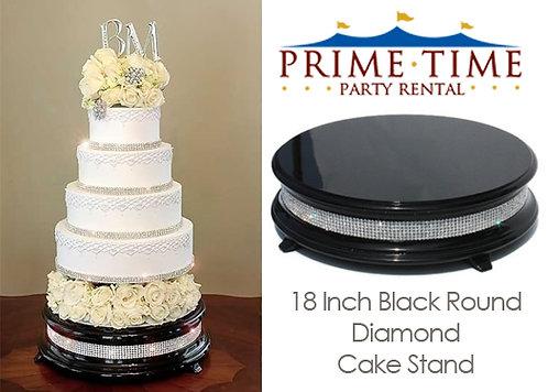 Diamond Cake Stand Black Round