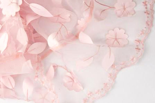 Ivy Leaves Sheer Light Pink Linen