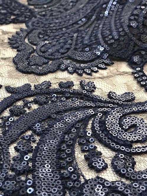 Chantilly Navy Lace with Sequins Linen