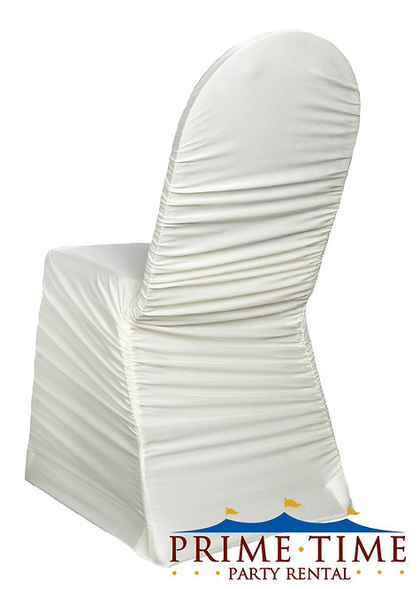 Rouched Spandex White Chair Cover