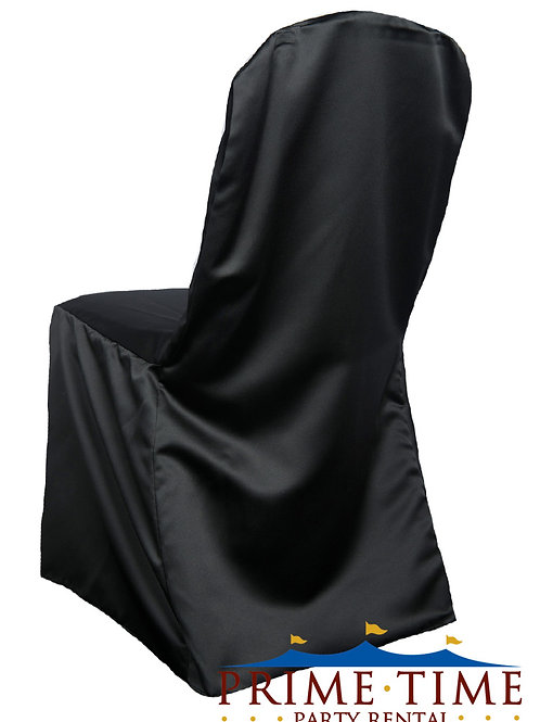 Matte Satin Black Banquet Chair Cover