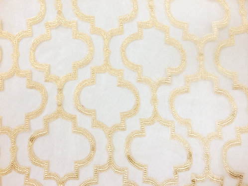Mimosa Gold Sheer Quatrefoil Pattern Linens