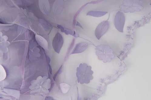 Ivy Leaves Sheer Lilac Linen