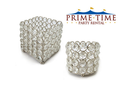 Crystal Beaded Silver Votive Candle Holders
