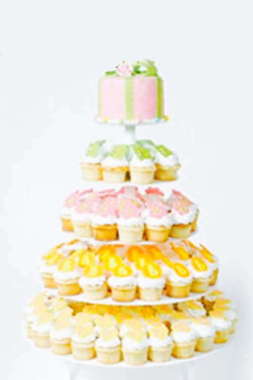 5 Tier Silver Metal Cupcake Stand Round