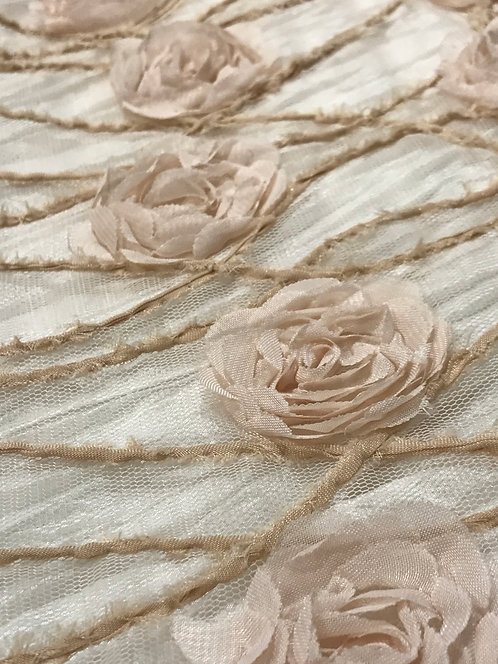 Briar Rose Blush Embroidered Netting Linen