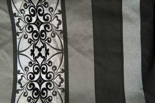New Year's Eve Black & Silver Stripe Flocked Linen