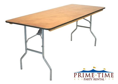 "Rectangular Wood Top Banquet Table 6' x 30"""