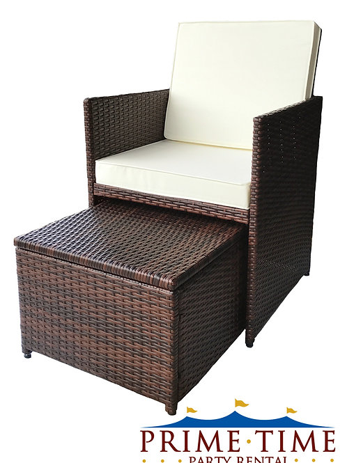 All-Weather Outdoor Wicker Chair & Ottoman Set