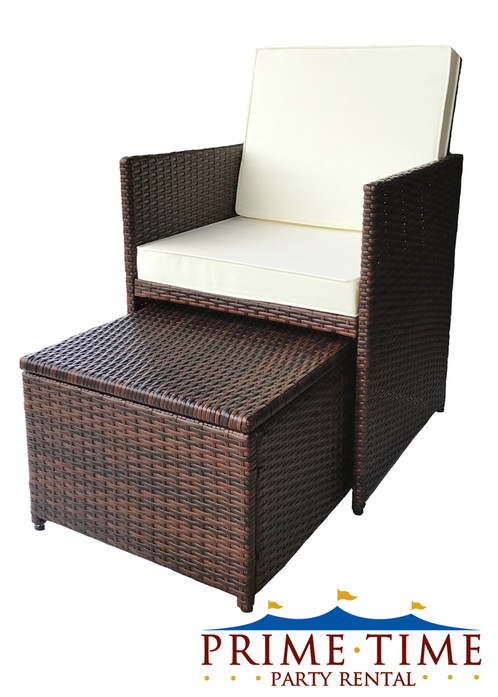 All Weather Outdoor Wicker Chair U0026 Ottoman Set