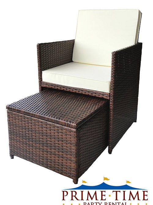 all weather outdoor wicker chair ottoman set
