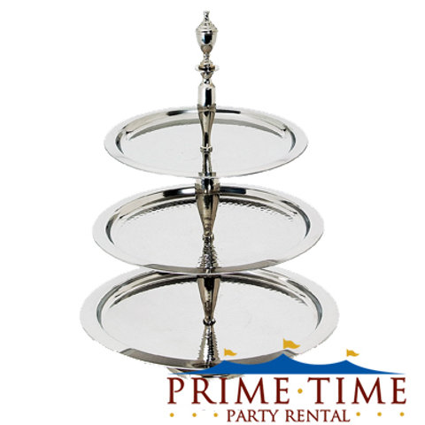 Silver Three-Tier Dessert Display