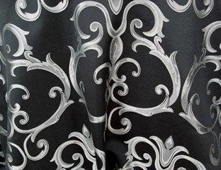 Chopin Black with Silver Damask Pattern