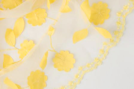 Ivy Leaves Sheer Canary Linen