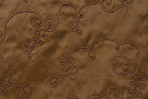 Taffeta Embroidered Chocolate Swirl Linen