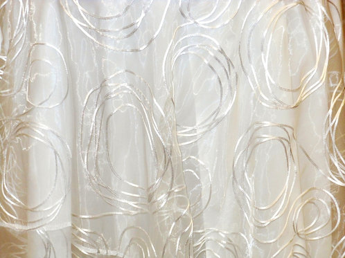 Circle Sheer White Organza Embroidered Linen