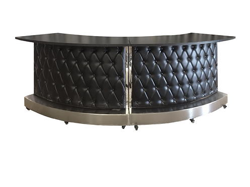 Black Modern Leather Tufted Bar