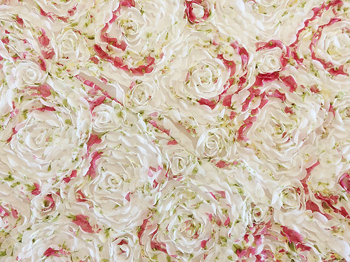 Chiffon Rose Floral Print Pink Linens