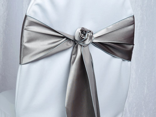 Satin Silver Chair Sash
