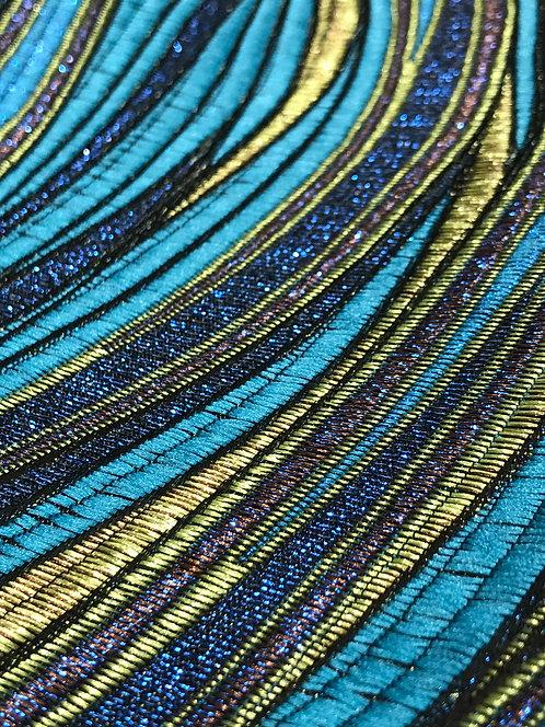 Enchantment Metallic Brocade Peacock Linen