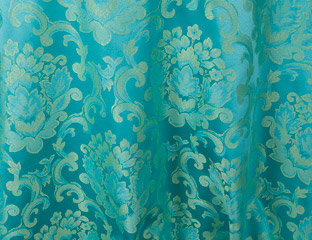 Beethoven Turquoise & Gold Damask Linen