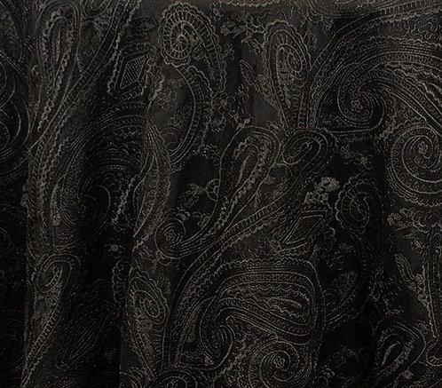 """Paisley Lace Black Linen 90"""" square"""