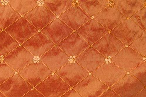 Sequin Taffeta Satin Border Orange Linen