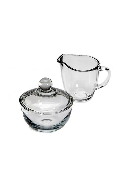 Glass Cream and Sugar Bowl