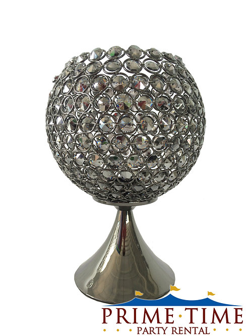 Smoke Black Crystal Candle Pedestal Globe