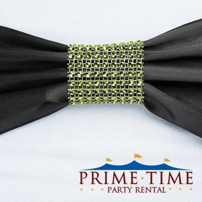 Lime Mesh Rhinestone Ring
