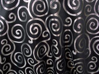 Metallic Scroll Black & Silver Linens