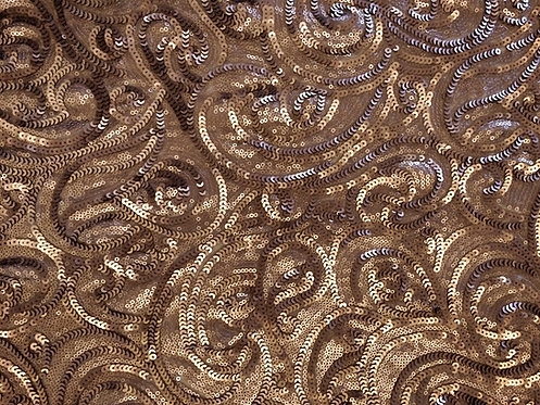 Sequin Paisley Champagne Swirl Linen