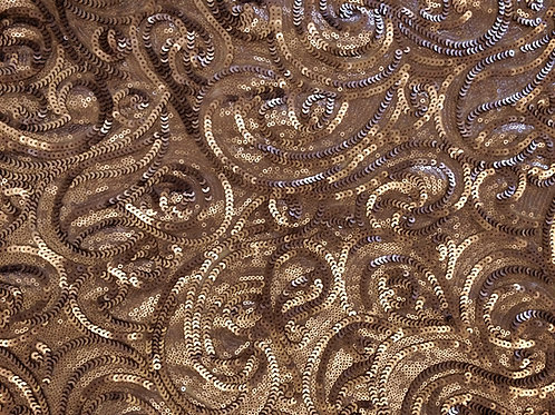 Sequin Paisley Champagne Swirl Linen