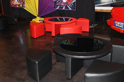 Circle Lounge Ottoman and Stool Set Black
