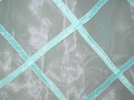 Sheer Organza Lattice Harlequin Aqua Linen