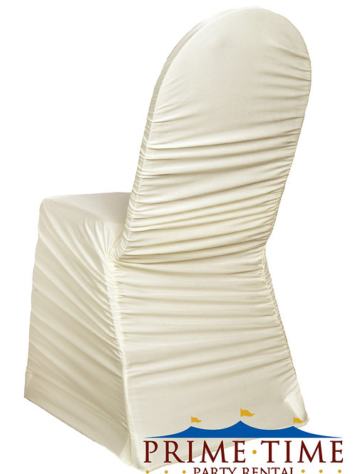 Rouched Spandex Ivory Chair Cover