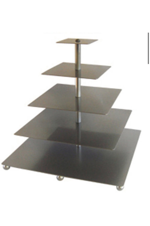 5 Tier Silver Metal Cupcake Stand Square
