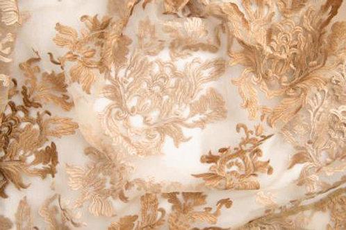 Capri Gold Sheer Damask Linen