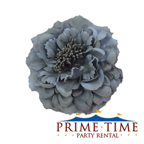 Pewter Peony Flower Clip