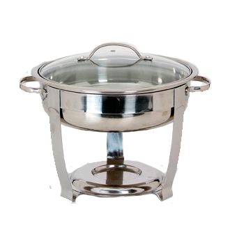 Stainless Steel Round Buffet Chafer with Glass Lid 6 quart