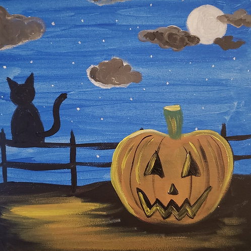 (Ages9+) Spooky Halloween Live Online Painting Class (Mon. 10/12 at 5pm)