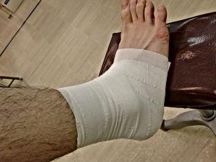 東松山市で足首捻挫の包帯固定