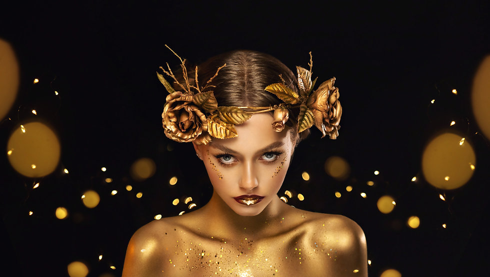 Fantasy portrait closeup woman with golden skin, lips, body. Girl in glamour wreath gold r